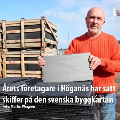 Tidningsartikel om Nordskiffer, Årets företagare i Höganäs har satt skiffer på den svenska byggkartan
