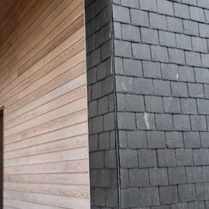 Nordskiffer Classic takskiffer på fasad monterad i dubbeltäckning - Askim