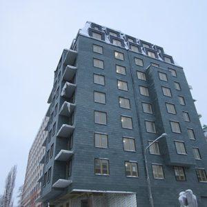 Takskiffer på tak och fasad monterad i enkeltäckning - Tegnérs torn