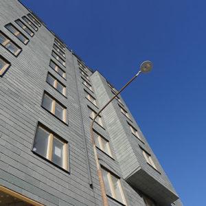 Tegnérs torn i Stockholm med skiffer på tak och fasad