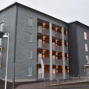 Projekt Dansbanan i Norrköping med takskiffer på fasad i enkel och dubbeltäckning