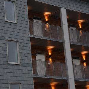 Norrköping Dansbanan - Takskiffer på fasad, Nordskiffer Grön i enkeltäckning