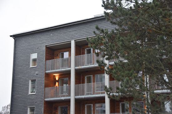 Skifferfasad på projekt Dansbanan i Norrköping