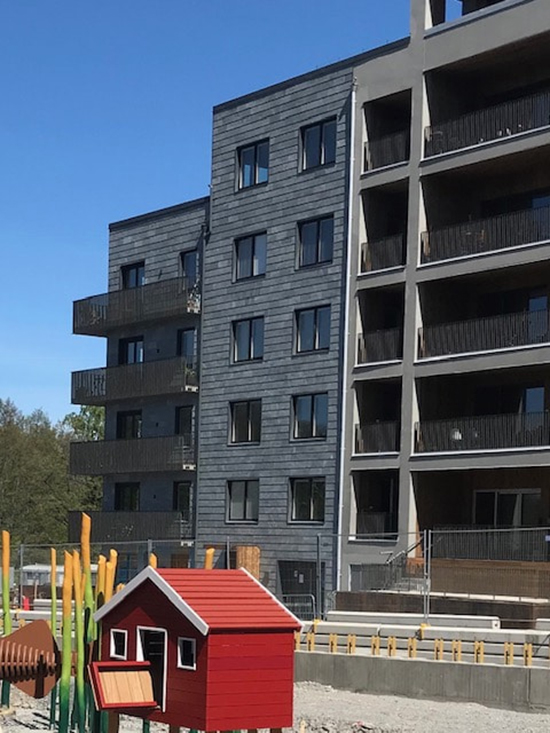 Kv Äril i Djurgårdsstaden, fasader med variation av skiffersorter