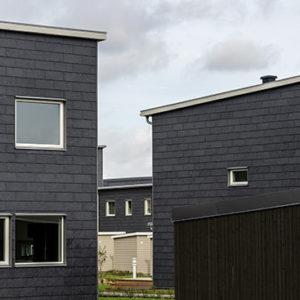 Projekt i Staffanstorp med Nordskiffer 80 - takskiffer på fasad