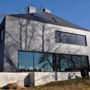 Samaca 55 fasadskiffer projekt Thiel Nacka, takskiffer på fasad