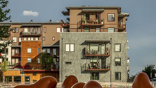 Lugano takskiffer på fasad på Projekt Slätpricken - Västerås