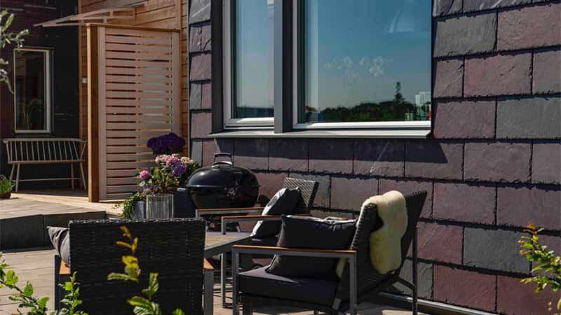 Fasadsystem - takskiffer på fasad