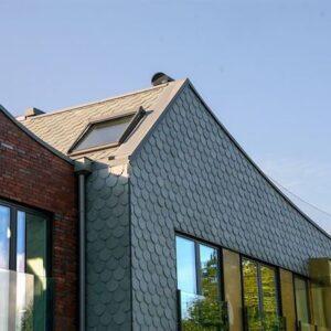 Morgondoppet rundklippt takskiffer på fasad. Foto Fredrik Karlsson, Landskrona stad